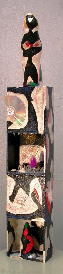 Aelurus, 30 by 6 by 3 inches, mixed media box sculpture