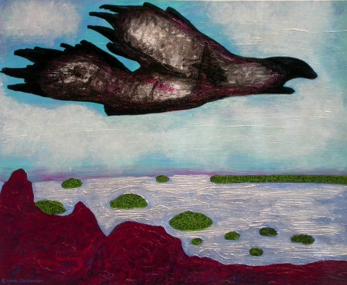 Bird in Flight, 19 by 23 inches, oil