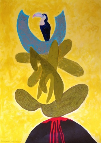 Bird Power, 28 by 19.5 inches, acrylic on Fabriano paper