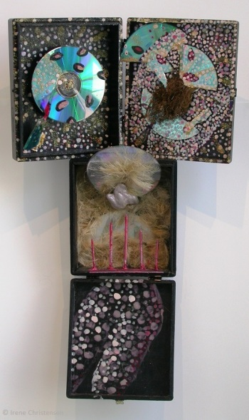 Black Venus, 24 by 14 by 4 inches, mixed media box sculpture