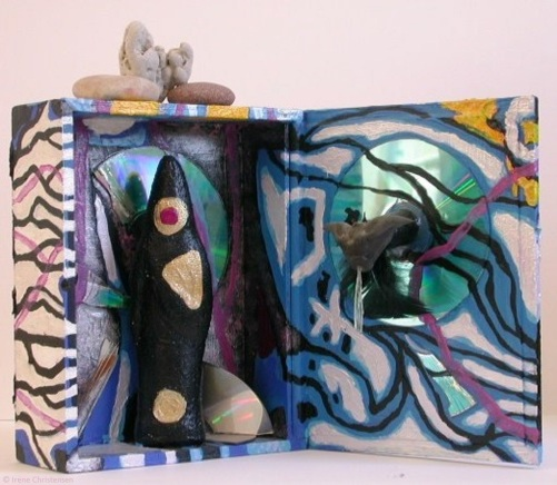 Blue Moon, 11 by 11 by 8 inches, mixed media box sculpture