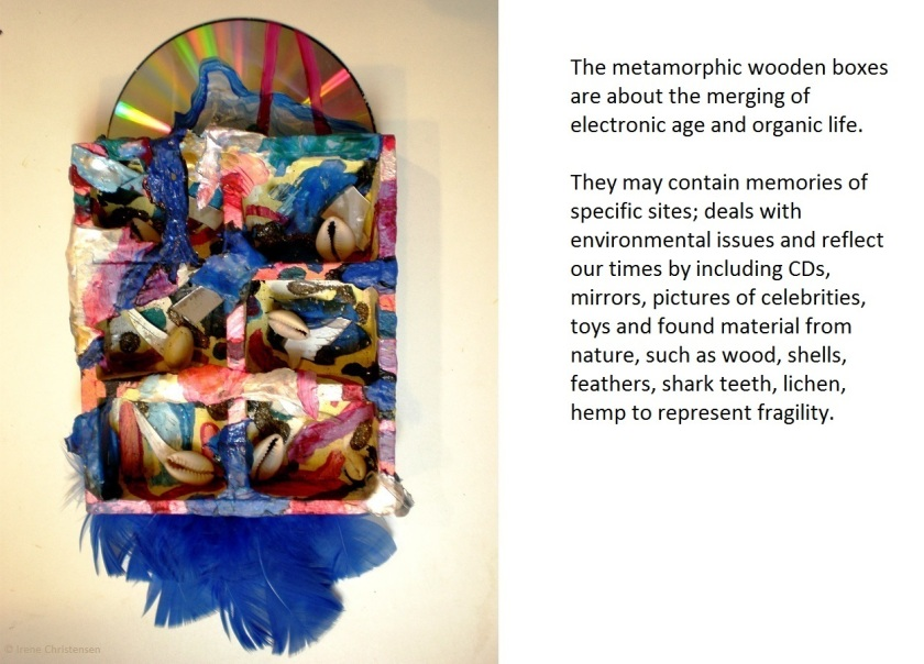 Blue Morning, 11.5 by 6 by 1.5 inches, mixed media box sculpture