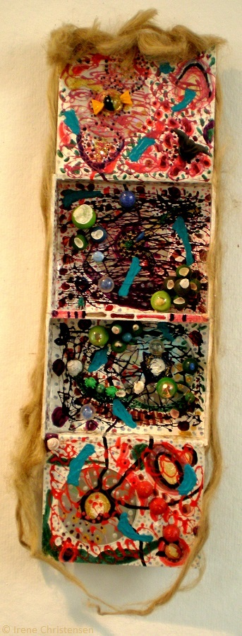 Braided Truths, 34 by 12 by 3 inches, mixed media box sculpture