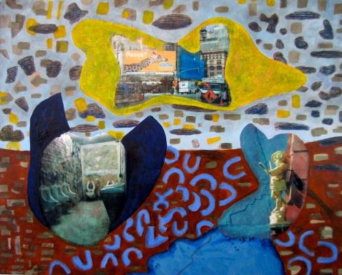 CBGB World, 24 by 30 inches, mixed media