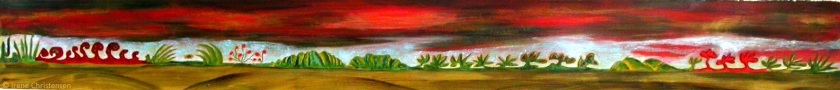 Everglades Night, 44 by 5 inches, oil