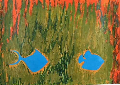 Fish in Sea, 19.5 by 28 inches, acrylic on Fabriano paper