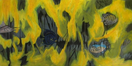 Lurking Fish, 22.5 by 44 inches, oil
