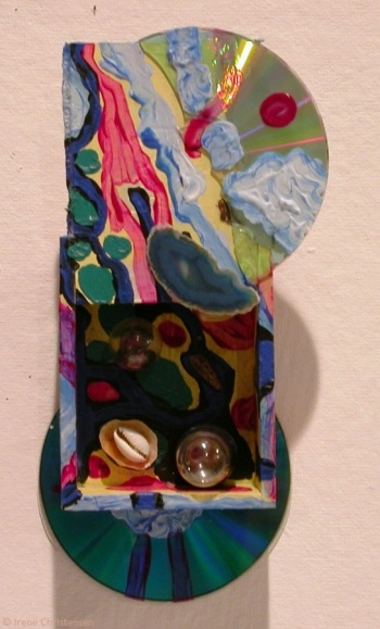Scarlet Planet, 10.5 by 5 by 2 inches, mixed media box sculpture