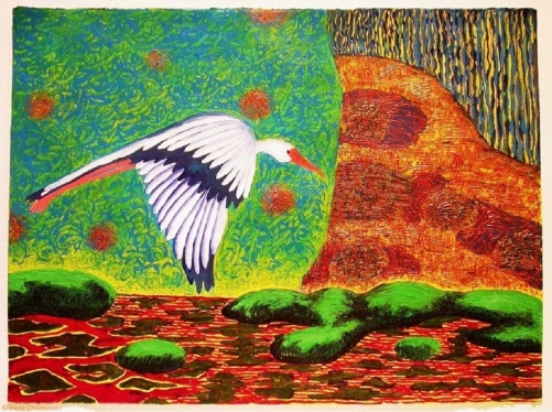 Spoonbill Flying, 22 by 30 inches, acrylic on paper