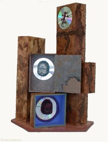 St. Jude, 13.5 by 17 by 25 inches, mixed media box sculpture
