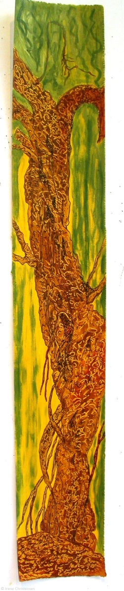 Strangler Tree 2, 38.5 by 6 inches, acrylic on paper