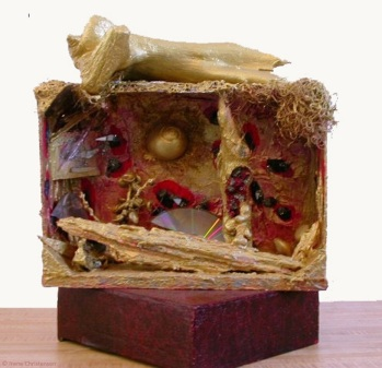 Venus World, 14 by 13 by 10 inches, mixed media box sculpture