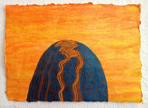 Volcano Eve, 8.5 by 12 inches, acrylic on handmade paper