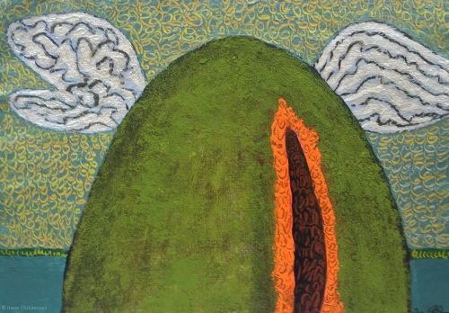 Volcano Flight, 8.5 by 12 inches, acrylic on handmade paper