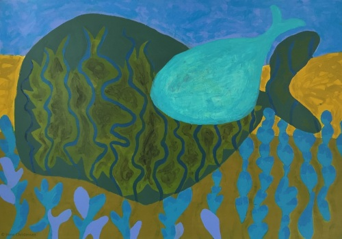 Whale, 19.5 by 28 inches, acrylic on Fabriano paper