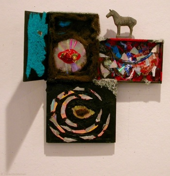 Year of the Red Mouth, 18 by 21 by 3 inches, mixed media box sculpture